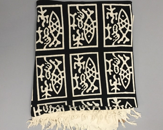 Block printed monochrome indian cotton throw