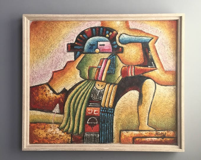 Original 1970s painting (oil on coconut fibre canvas )