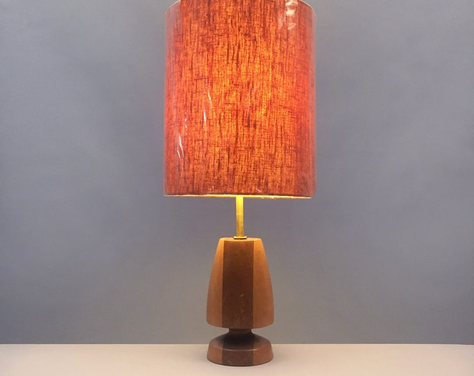 1960s handmade turned wood lamp base and linen shade