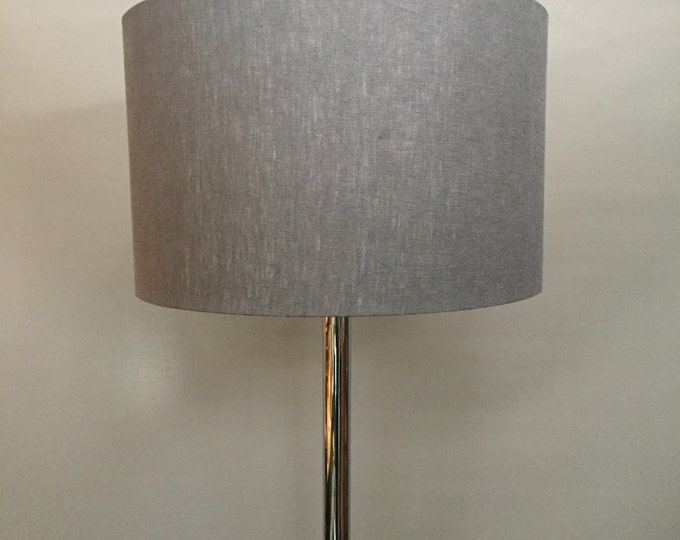 1970s chrome standard lamp with linen shade