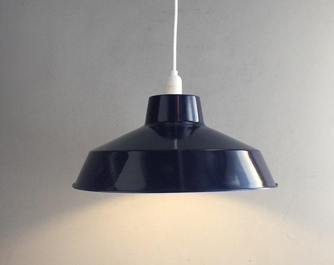 navy blue enamel metal pendant shade.