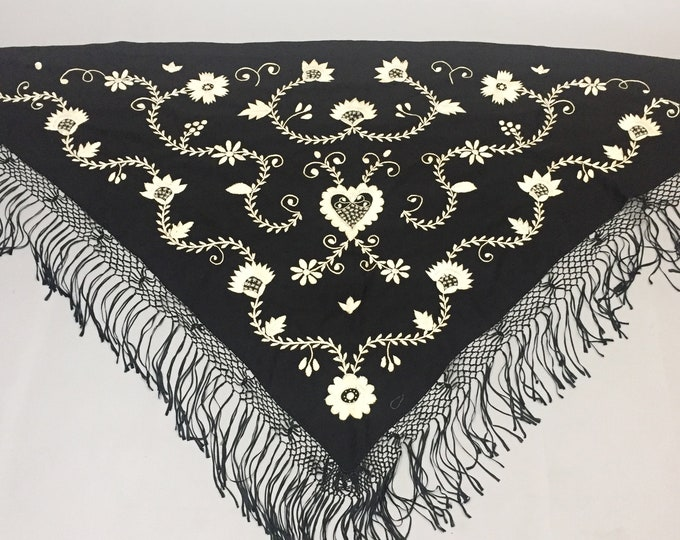 wool embroidered piano shawl