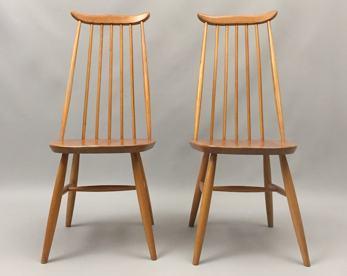 1960s high back spindle  style chairs possibly Ercol