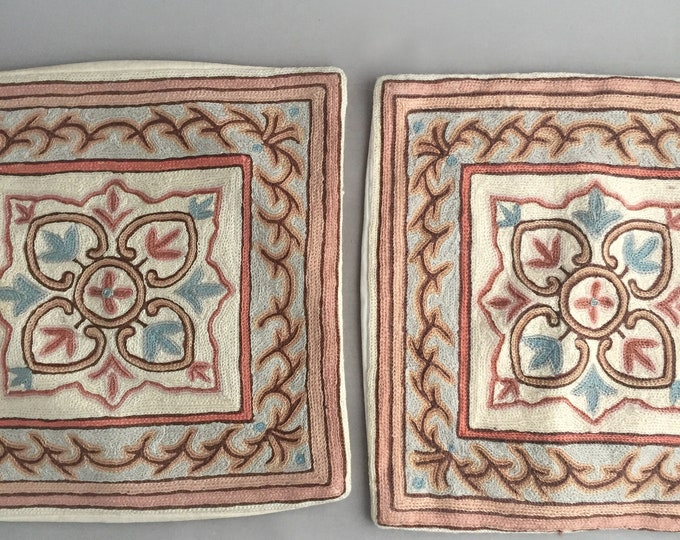 embroidered wool cushions