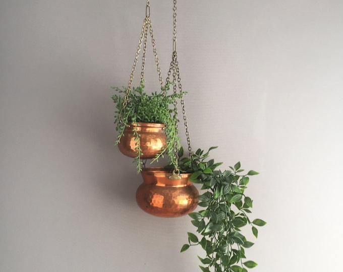 hanging copper plant pots
