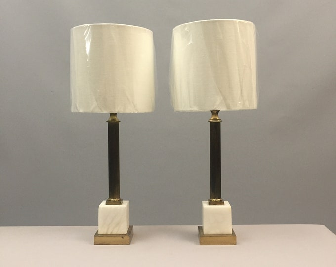 1960s marble and brass table lamps pair
