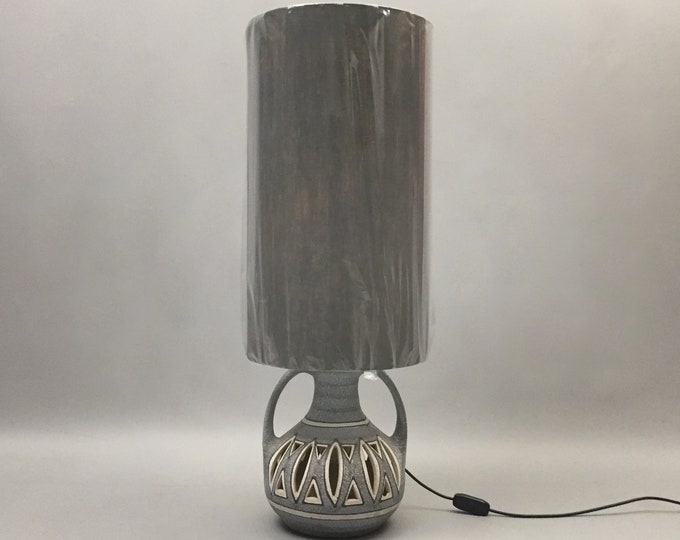 1970s german pottery lamp with linen shade