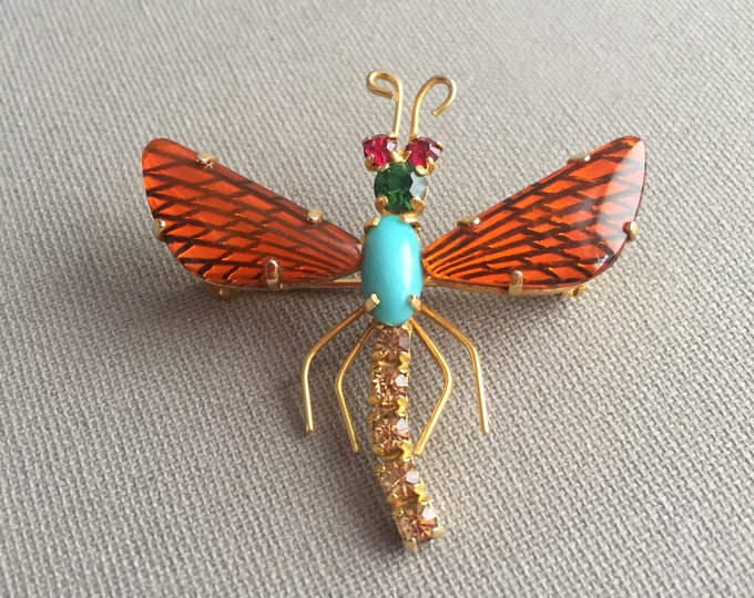 Pave costume dragon fly brooch