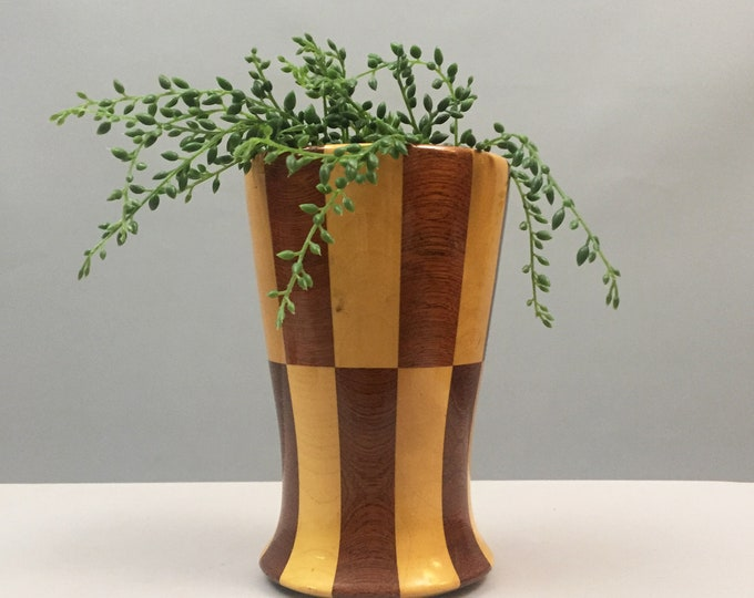 midcentury chequered wood plant holder