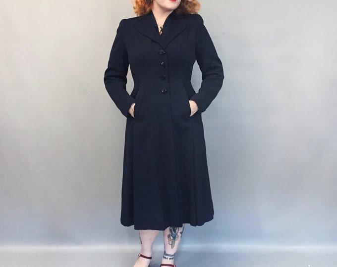 1940s gabardine pure wool dress coat