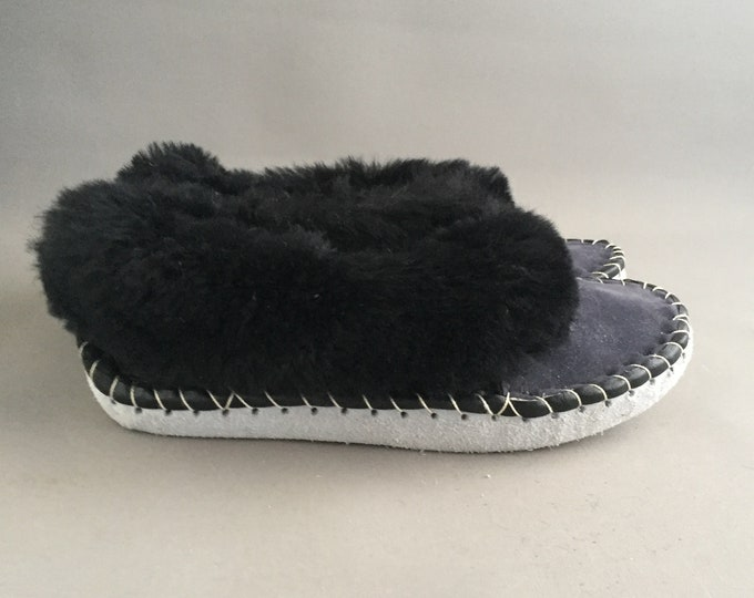 sheepskin and suede handmade slippers 42