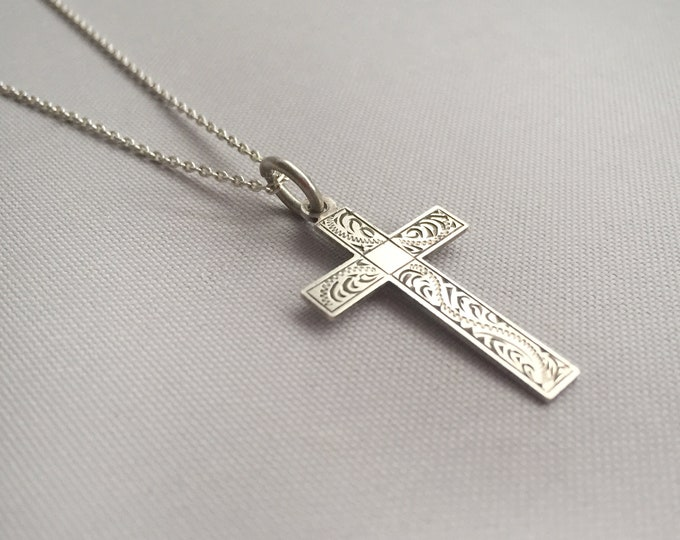 sterling silver engraved cross on silver chain