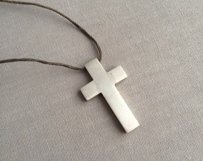 solid silver cross on leather