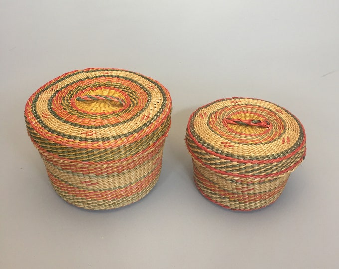 little african woven basket set