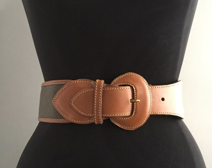 1980s Mulberry scotch grain leather  belt