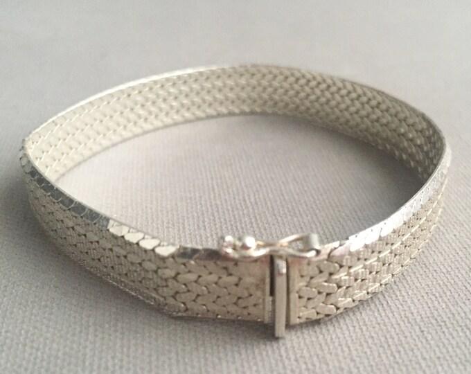 1960s sterling silver flat link bracelet