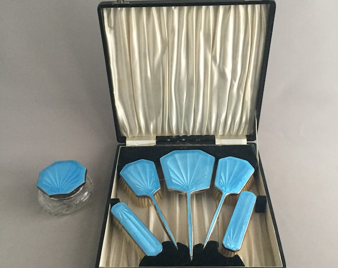1930s Art Deco Guilloche Blue Enamel Hand Mirror & Clothes Brushes Set in the Original box, Dressing Table Set