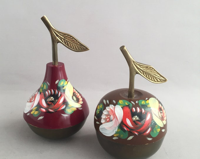hand painted brass apple and pear ornament