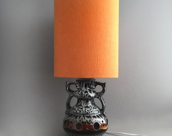 German pottery lamp with Linen shade