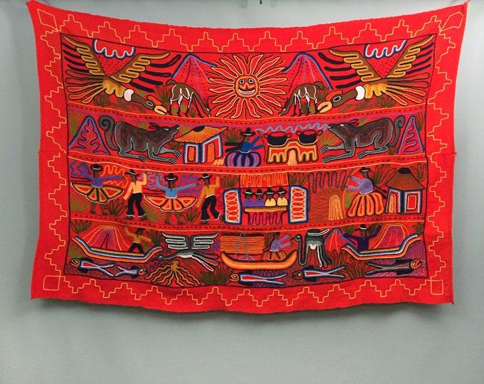 Hand Embroidery crewel work Wool Mayan Aztec Peru wall hanging
