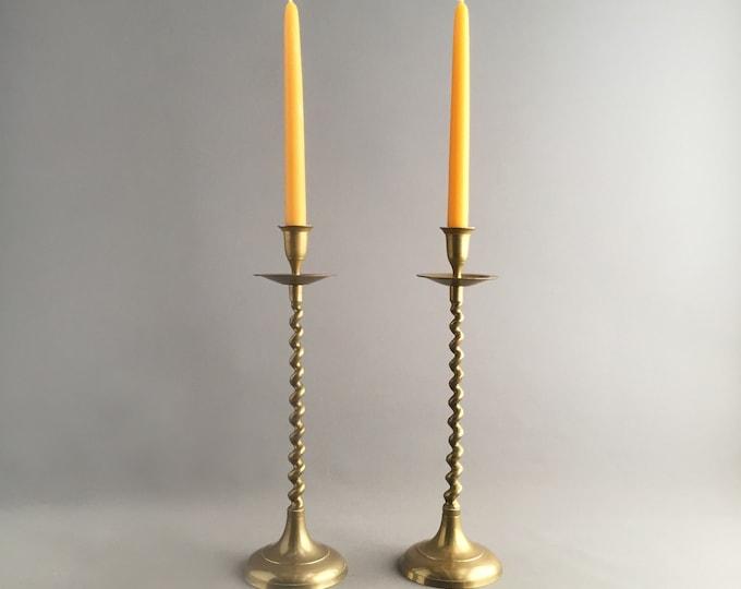 tall barley twist brass candlestick holders