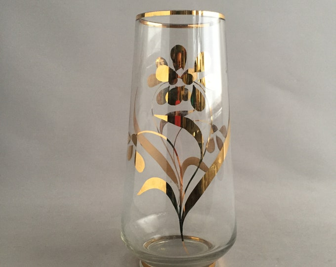 1950s glass vase with gold floral pattern