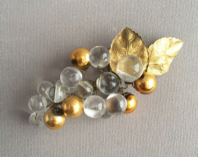 glass grapes deco brooch