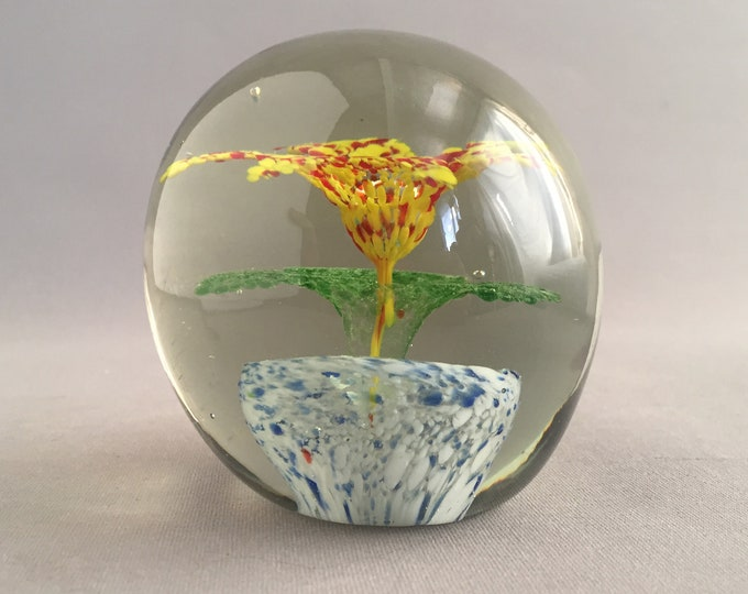 Murano glass bauble paper weight with pot plant flower inside