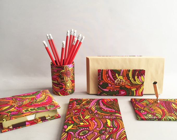 Vintage paisley desk set/ desk tidy