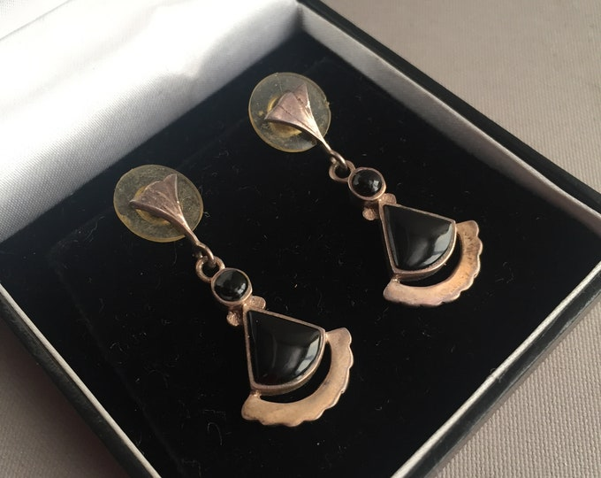 deco style silver and onyx earrings