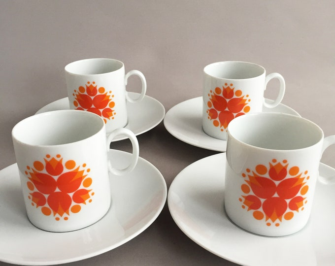 Orange Pinwheel Coffee Set by Rosenthal (Thomas)