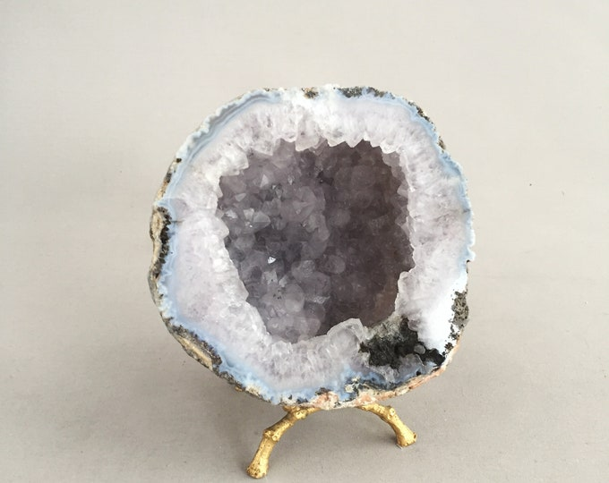 Agate decorative geode on gold stand