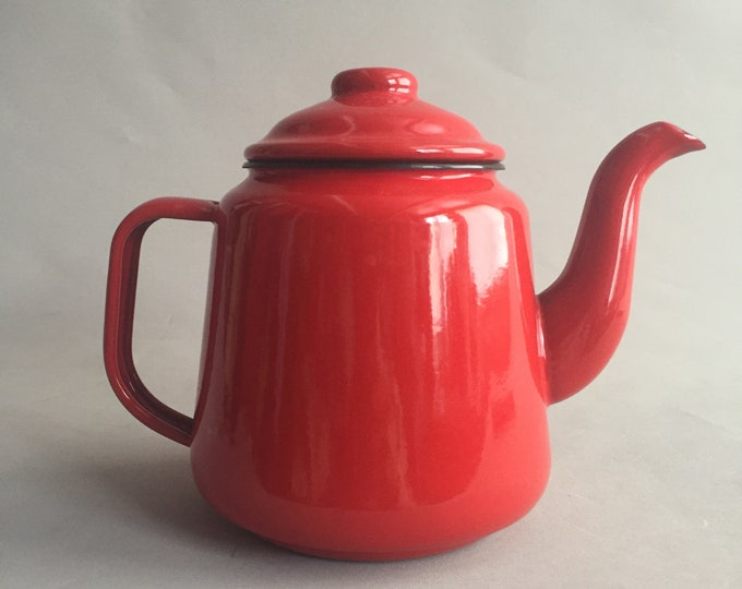 red enamel tea pot