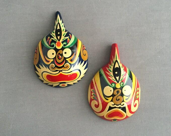 hand painted folk art wall masks
