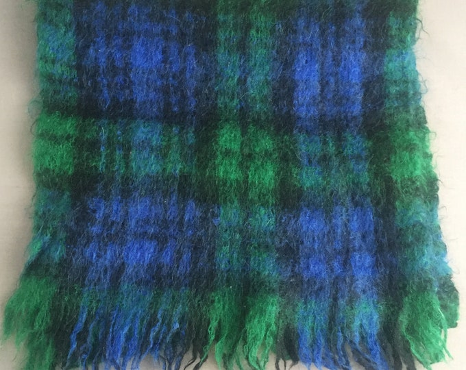 1950s checked mohair scarf