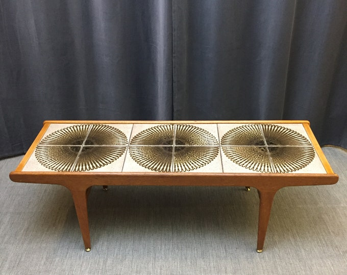1970s tile top teak coffee table