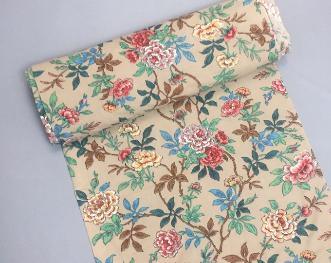 1940s cotton floral print fabric