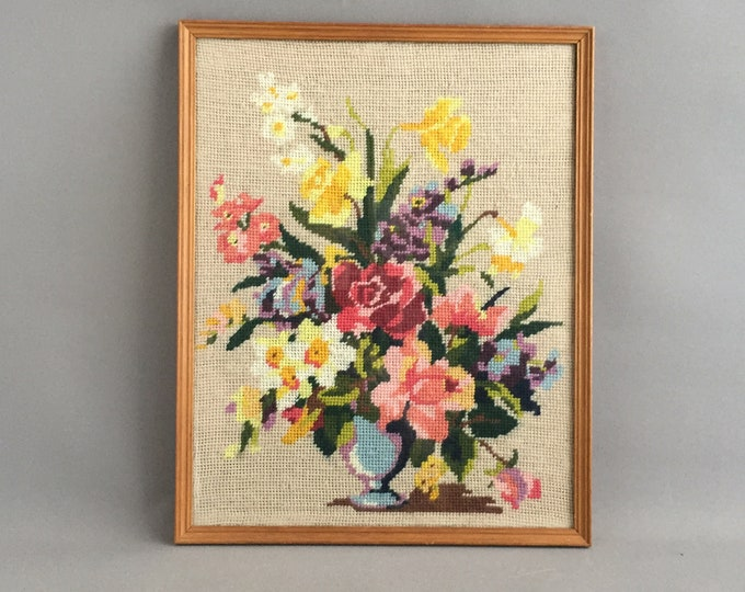 1950s wool needlepoint framed picture