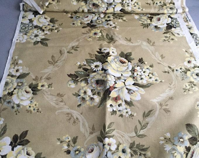 floral union linen 1950s fabric