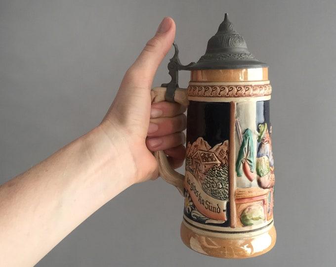 Vintage Lusterware Beer Stein with Pewter Lid