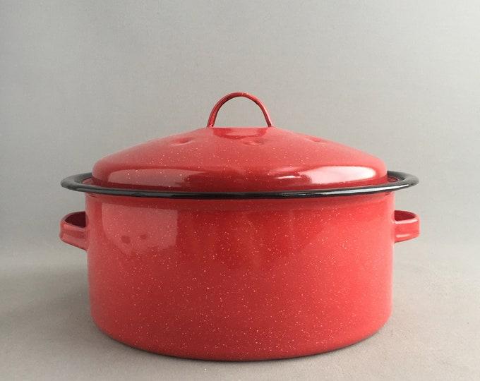 red enamelware roaster