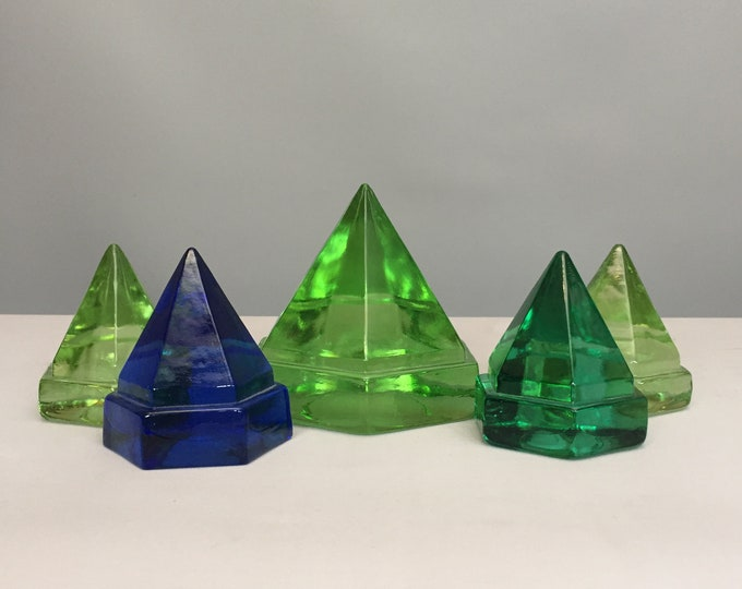 Set of 5 glass paper weights