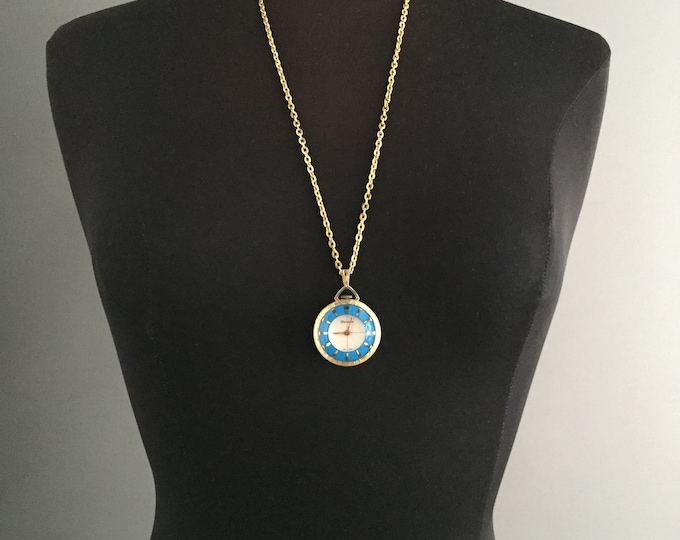 Vintage Lucerne Wind Up Watch Pendant , Blue Enamel With Gold detail, Swiss Made