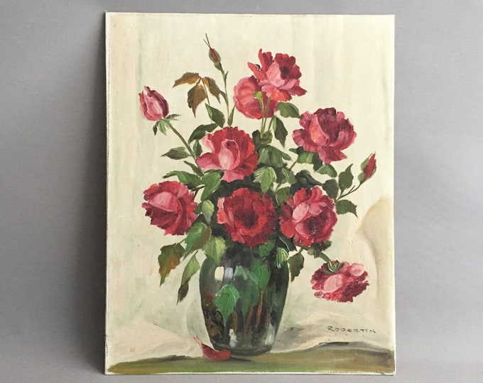 Oil on board painting of roses in a vase