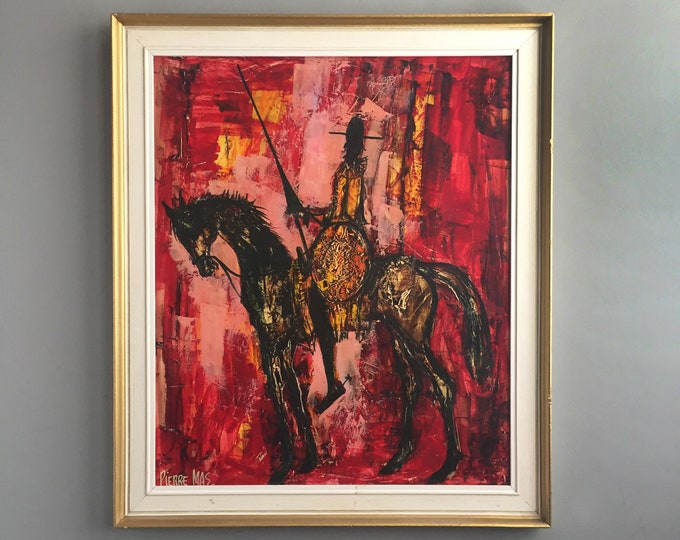 "Pierre Mas ""Don Quixote""  framed oil / Gouache"