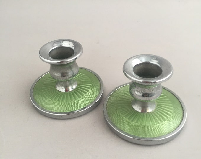 1930s Art Deco Guilloche green Enamel candle stick holders