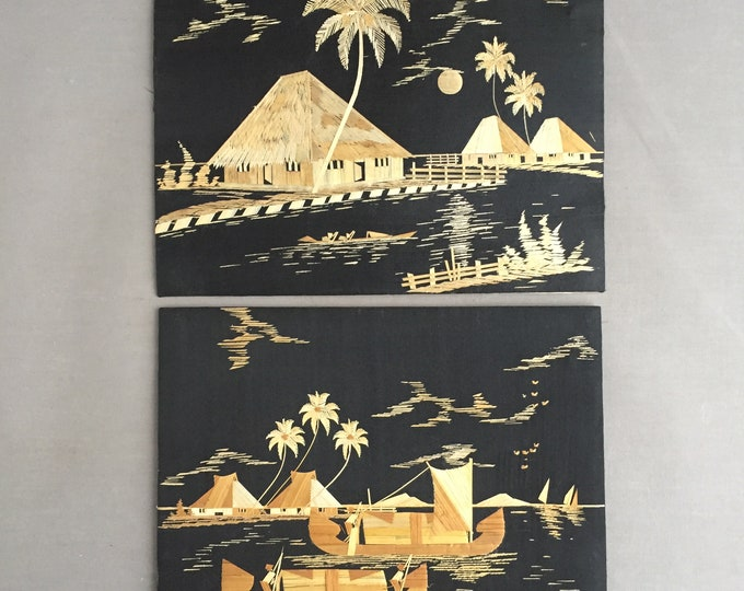 pair of 1950s Tiki style pictures