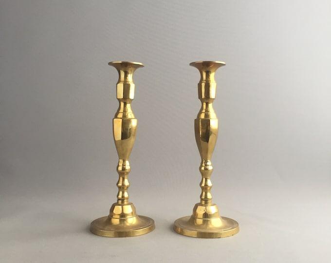 large brass chunky candlesticks