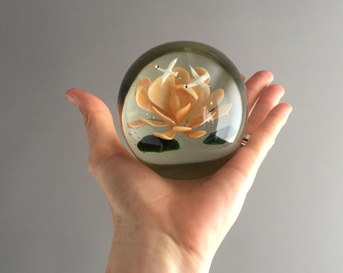 glass paper weight with lotus and 2 white Cranes