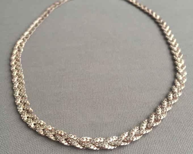 1960s silver (925) plaid chocker chain